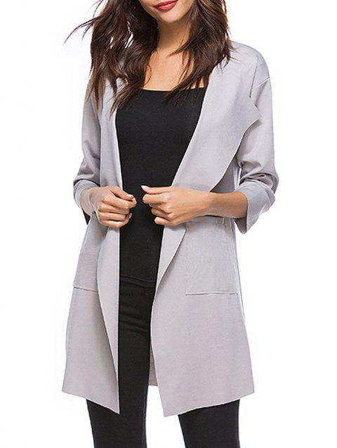 Drop Shoulder Open Front Trench Coat - GRAY 2XL