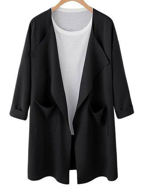 Drop Shoulder Open Front Trench Coat - BLACK M