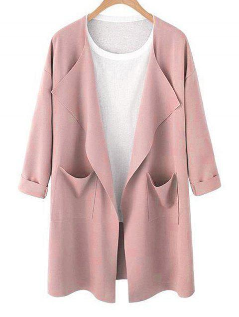 Drop Shoulder Open Front Trench Coat - PINK XL