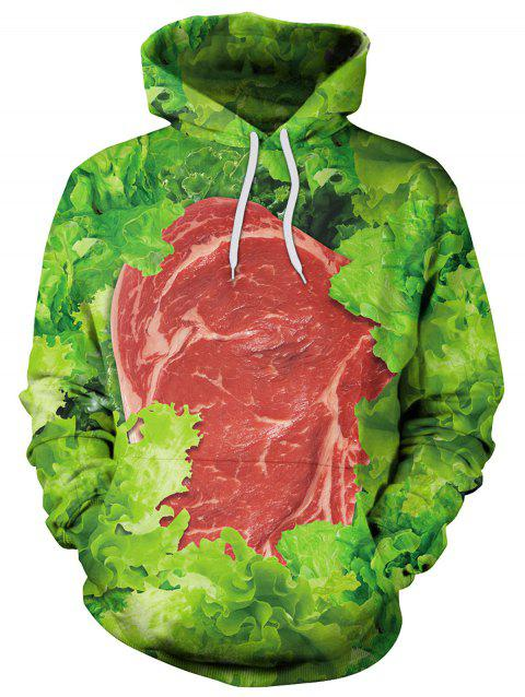3D Vegetables Print Pullover Hoodie - GREEN 2XL