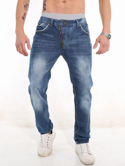 Classic Faded Slim Fit Jeans - BLUE 34