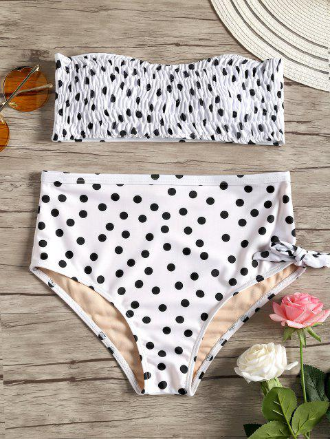 Polka Dot Strapless Shirred Bikini - WHITE/BLACK S