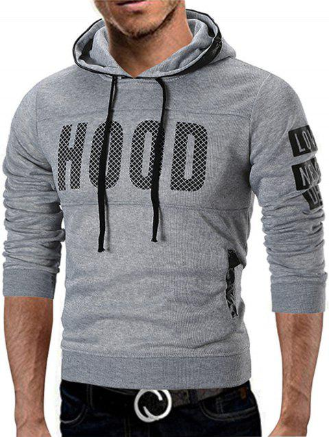Graphic Fleece Lined Pullover Hoodie - GRAY XL
