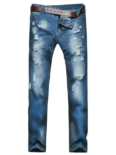 Slightly Faded Destroyed Jeans - BLUE 32