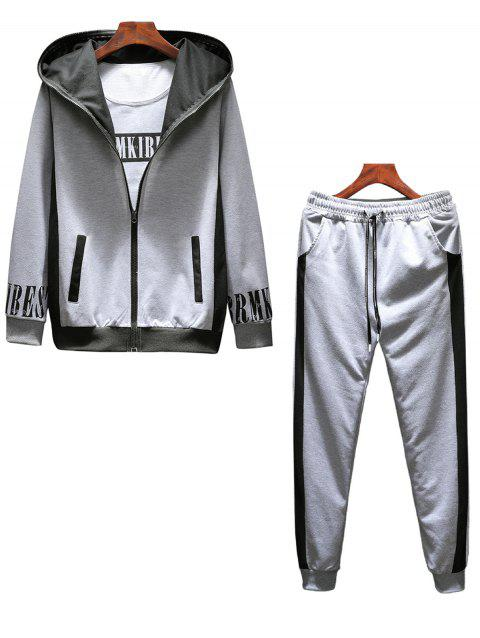 T-shirt Hoodie and Sweatpants Three Piece Suit - GRAY 2XL