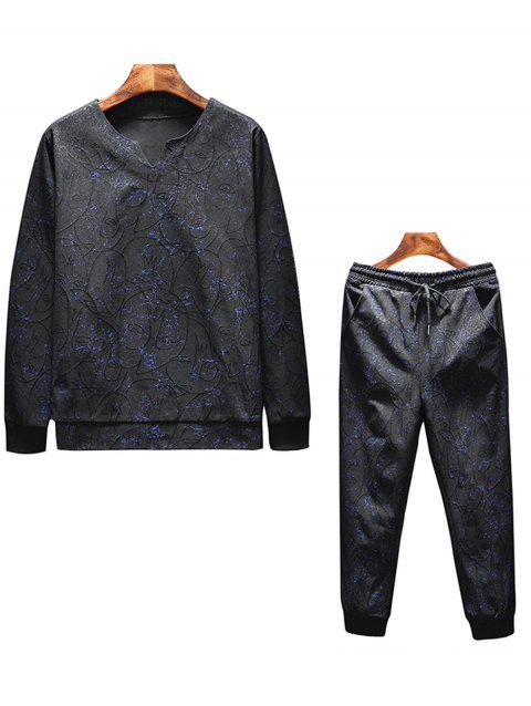 Leaves Print Sweatshirt Tracksuit - BLACK 3XL