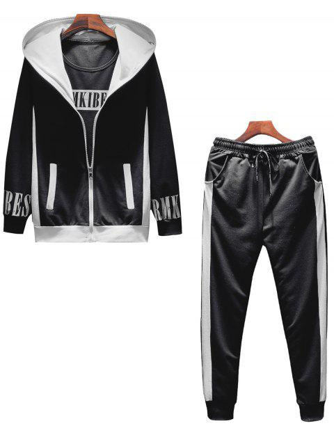 T-shirt Hoodie and Sweatpants Three Piece Suit - BLACK XL