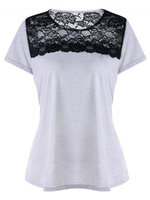 Short Sleeve T-shirt with Lace - LIGHT GREY XL