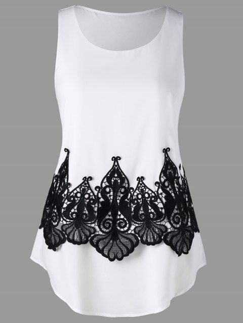 Crochet Lace Panel Tank Top - WHITE 2XL