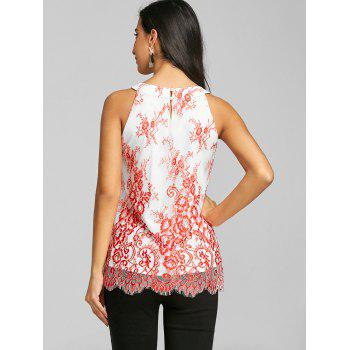 Keyhole Neck Scalloped Edge Tank Top - RED M