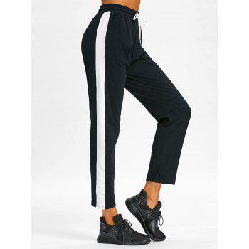 Color Block Casual Ninth Pants - BLACK XL