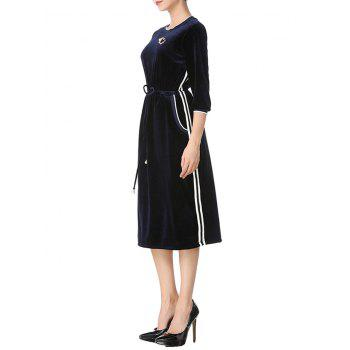Long Sleeve Drawstring Velvet Midi Dress - DEEP BLUE XL