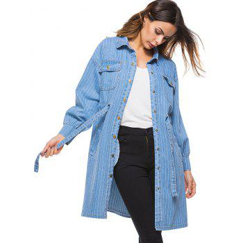 Drawstring Stripe Denim Long Jacket - LIGHT BLUE ONE SIZE