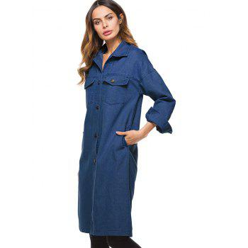 Long Pockets Denim Coat - DEEP BLUE ONE SIZE