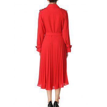 Buttoned Midi Pleated Dress - RED M