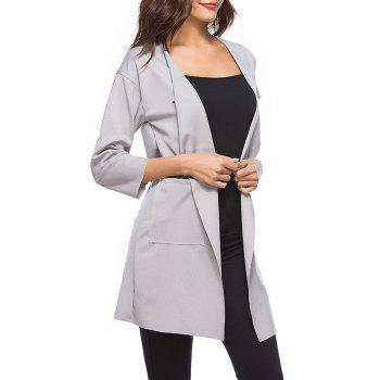 Drop Shoulder Open Front Trench Coat - GRAY M