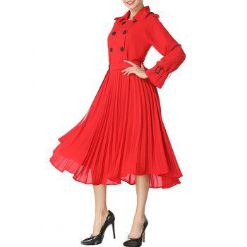 Buttoned Midi Pleated Dress - RED L