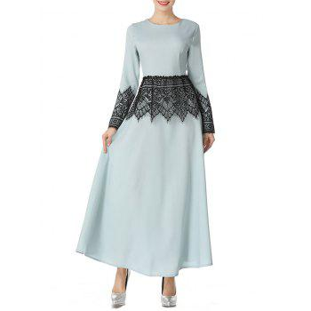 Mesh Panel Long Arabic Dress - LIGHT GREEN S