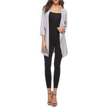 Drop Shoulder Open Front Trench Coat - GRAY XL