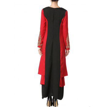 Embroidered Two Tone Long Arabic Dress - BLACK/RED M