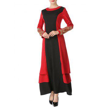 Embroidered Two Tone Long Arabic Dress - BLACK/RED XL