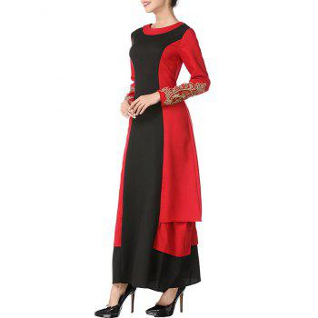 Embroidered Two Tone Long Arabic Dress - BLACK/RED L