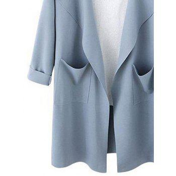 Drop Shoulder Open Front Trench Coat - LIGHT BLUE XL