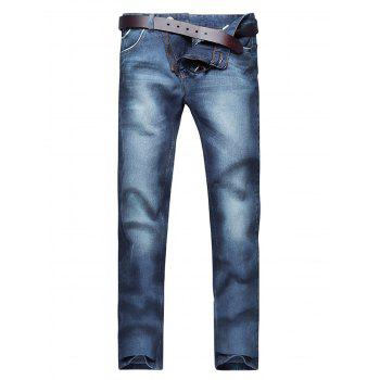 Classic Faded Slim Fit Jeans - BLUE 36