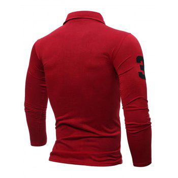 Giraffe Embroidery Polo Long Sleeve T-shirt - RED 2XL