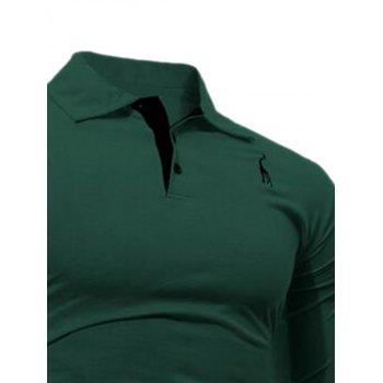 Giraffe Embroidery Polo Long Sleeve T-shirt - GREEN M