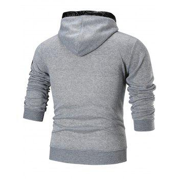 Graphic Fleece Lined Pullover Hoodie - GRAY 3XL