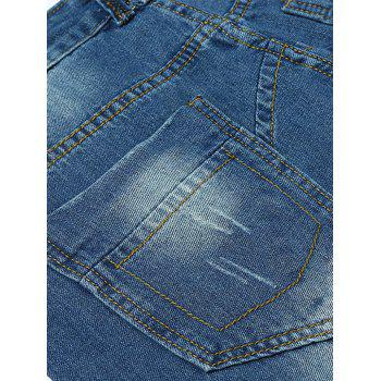 Slightly Faded Destroyed Jeans - BLUE 36