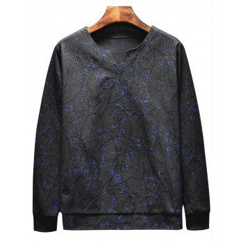 Leaves Print Sweatshirt Tracksuit - BLACK 2XL