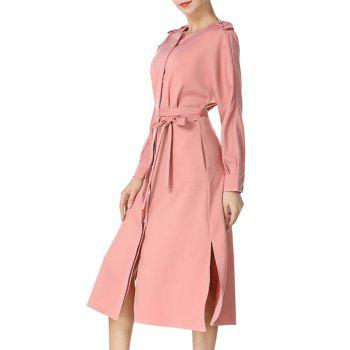 Long Sleeve Buttoned Midi Dress - RUSSET RED M