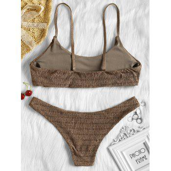 Shirred Low Waisted Bikini Set - BROWN S