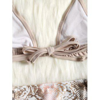 Halter Snake Pattern Bikini Set - LIGHT KHAKI S