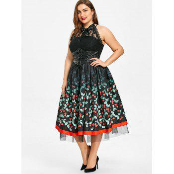 Cherry Printed Plus Size Retro Gothic Dress - BLACK 4XL