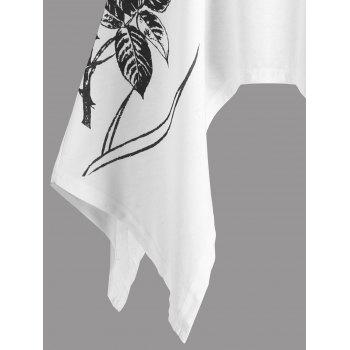 Two Tone Lace Trim Crescent Hem T-shirt - WHITE/BLACK L