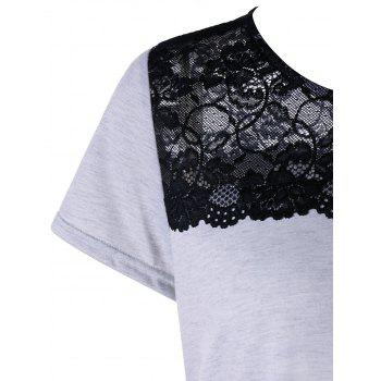 Short Sleeve T-shirt with Lace - LIGHT GREY L