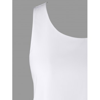 Crochet Lace Panel Tank Top - WHITE M