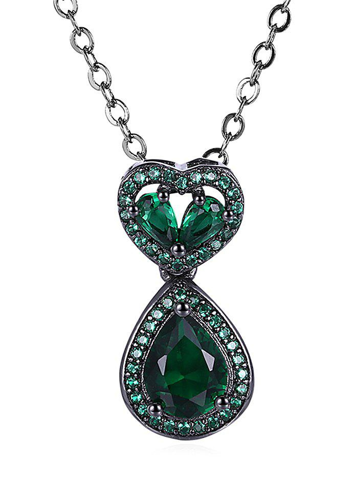 Hollow Out Heart Teardrop Faux Gem Pendant Necklace hollow out round faux crystal metal necklace