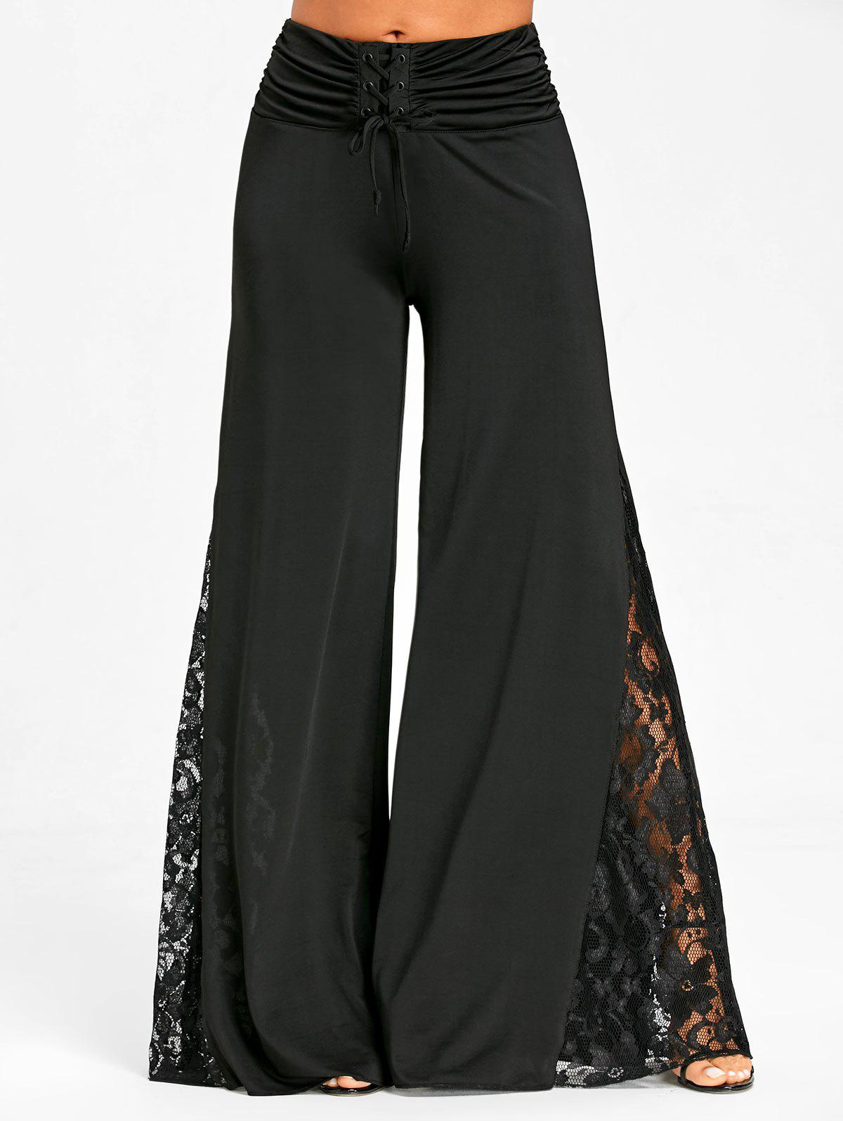 Lace Panel High Waist Palazzo Pants - BLACK M