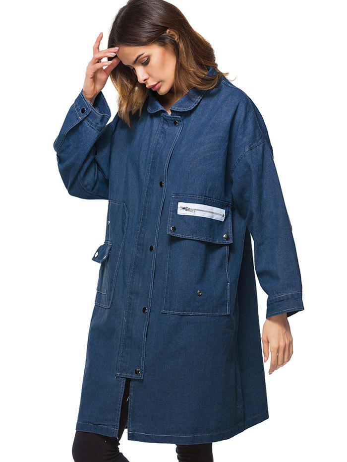 Drop Shoulder Oversized Pockets Denim Coat - DEEP BLUE ONE SIZE