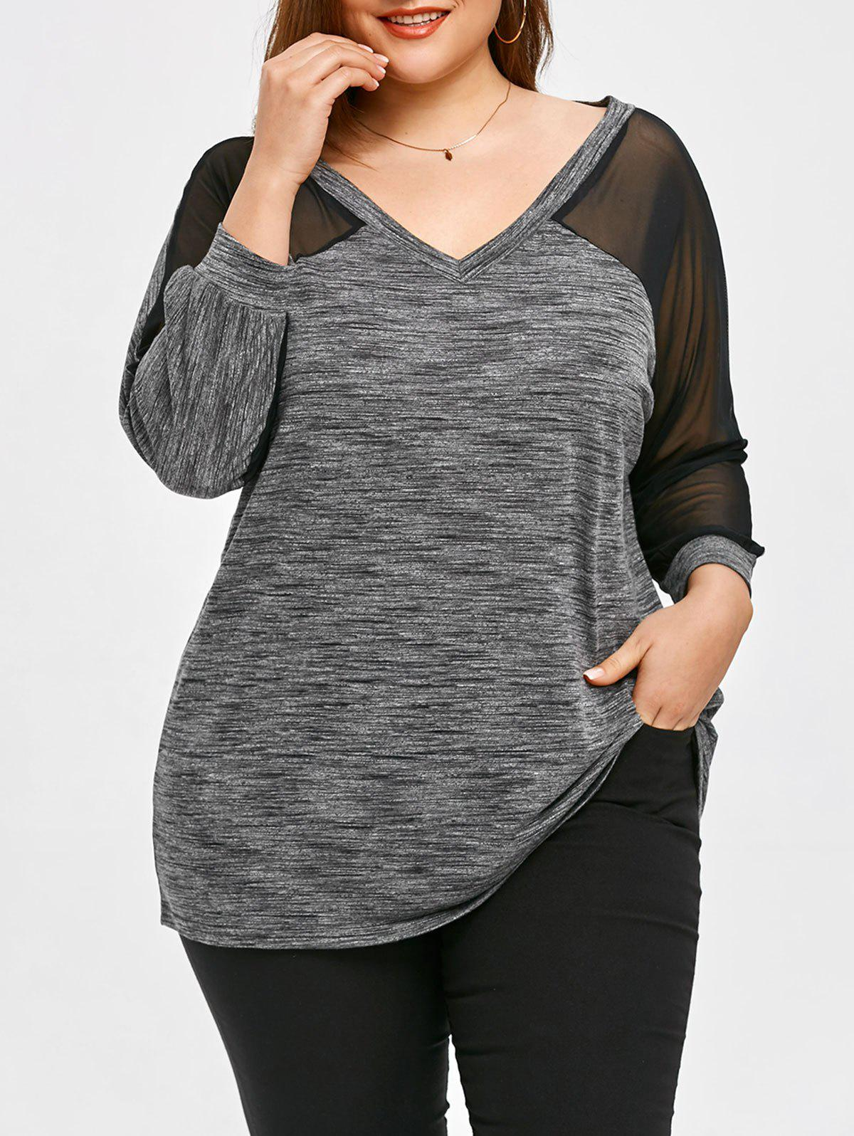 Mesh Panel Plus Size Long Sleeve T-shirt - LINEN GRAY 2XL
