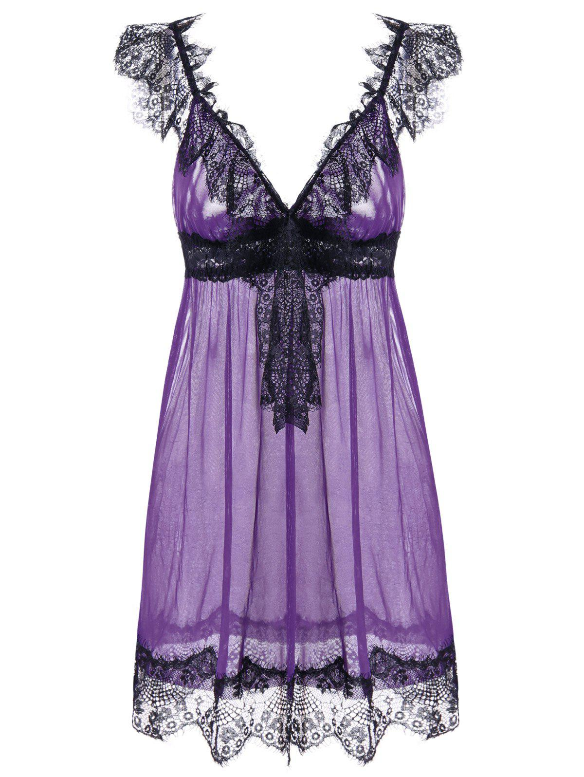 Lace Trim Tulle Lingerie Babydoll Dress - PURPLE ONE SIZE