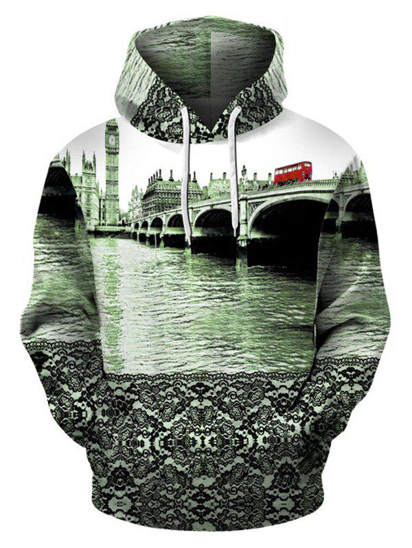 Sweat-Shirt à Capuche avec Poche Kangourou Motif Big Ben - multicolore 2XL