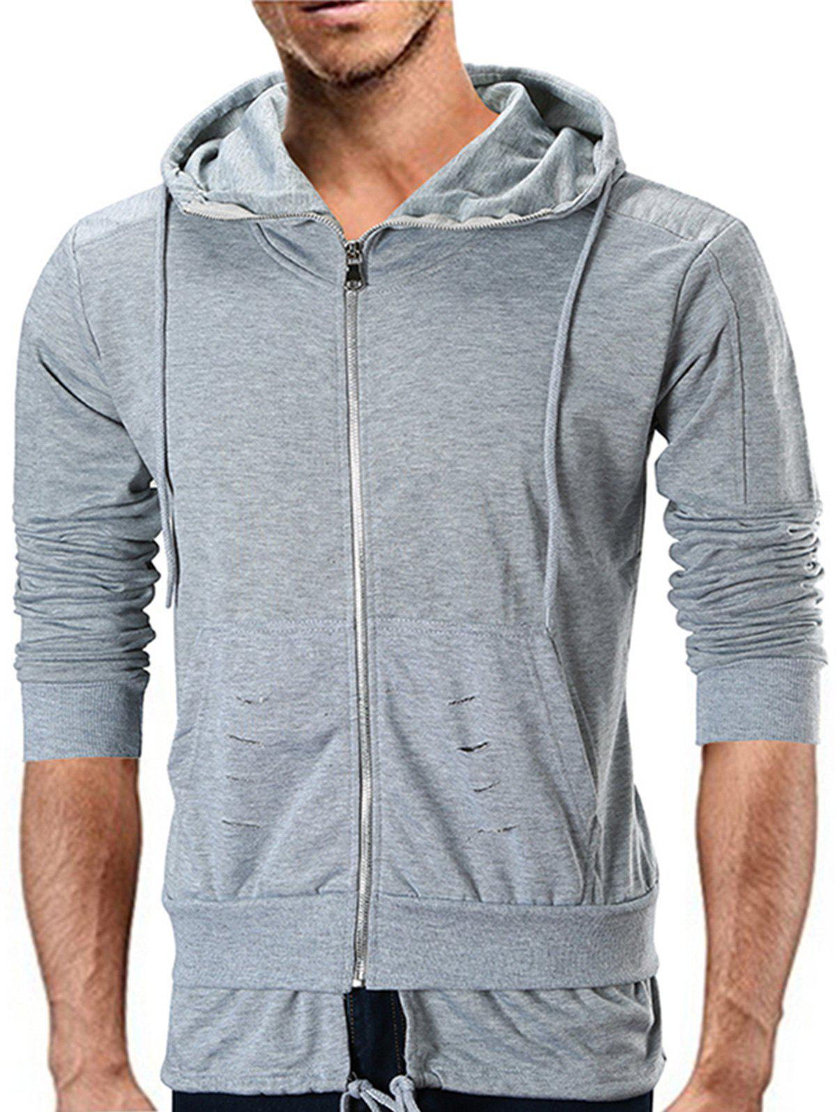 Distressed Detail Layered Hem Zip Up Hoodie - GRAY XL