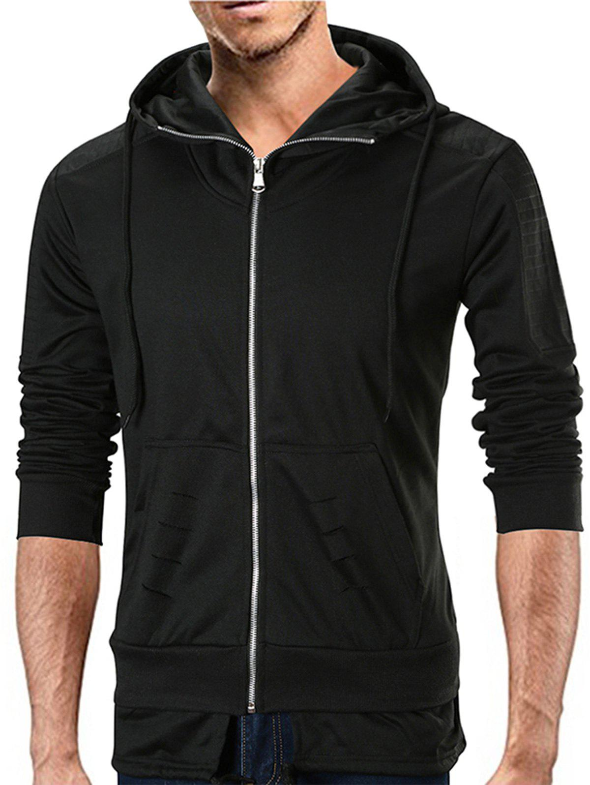 Distressed Detail Layered Hem Zip Up Hoodie - BLACK 2XL
