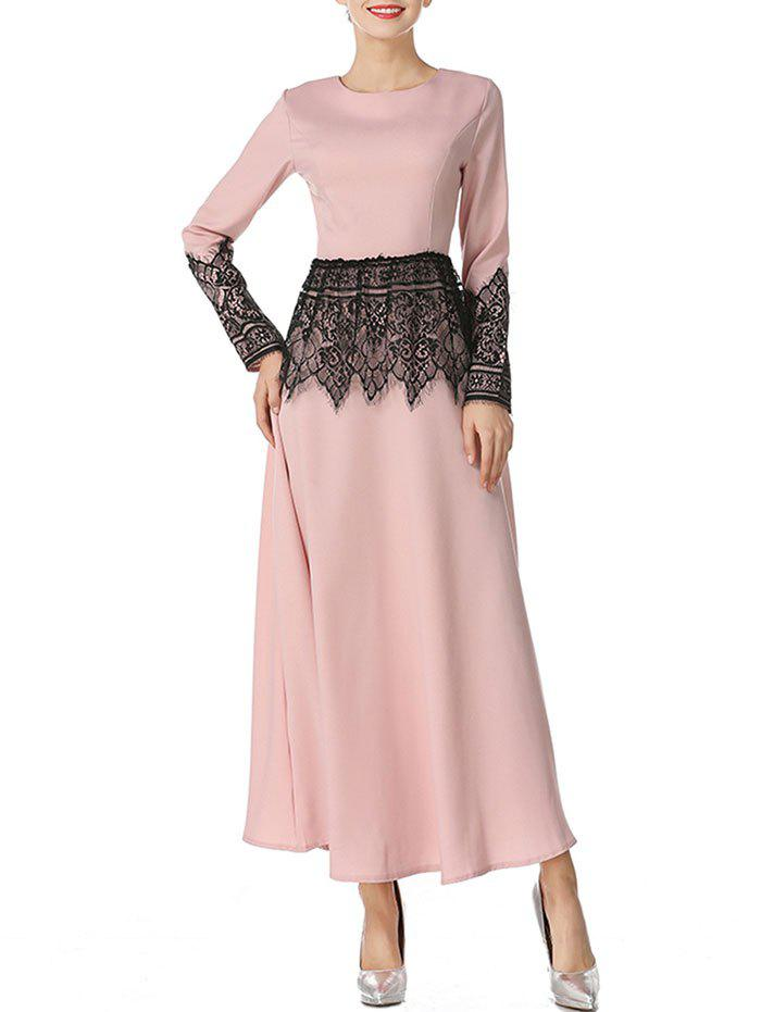 Mesh Panel Long Arabic Dress - NUDE L