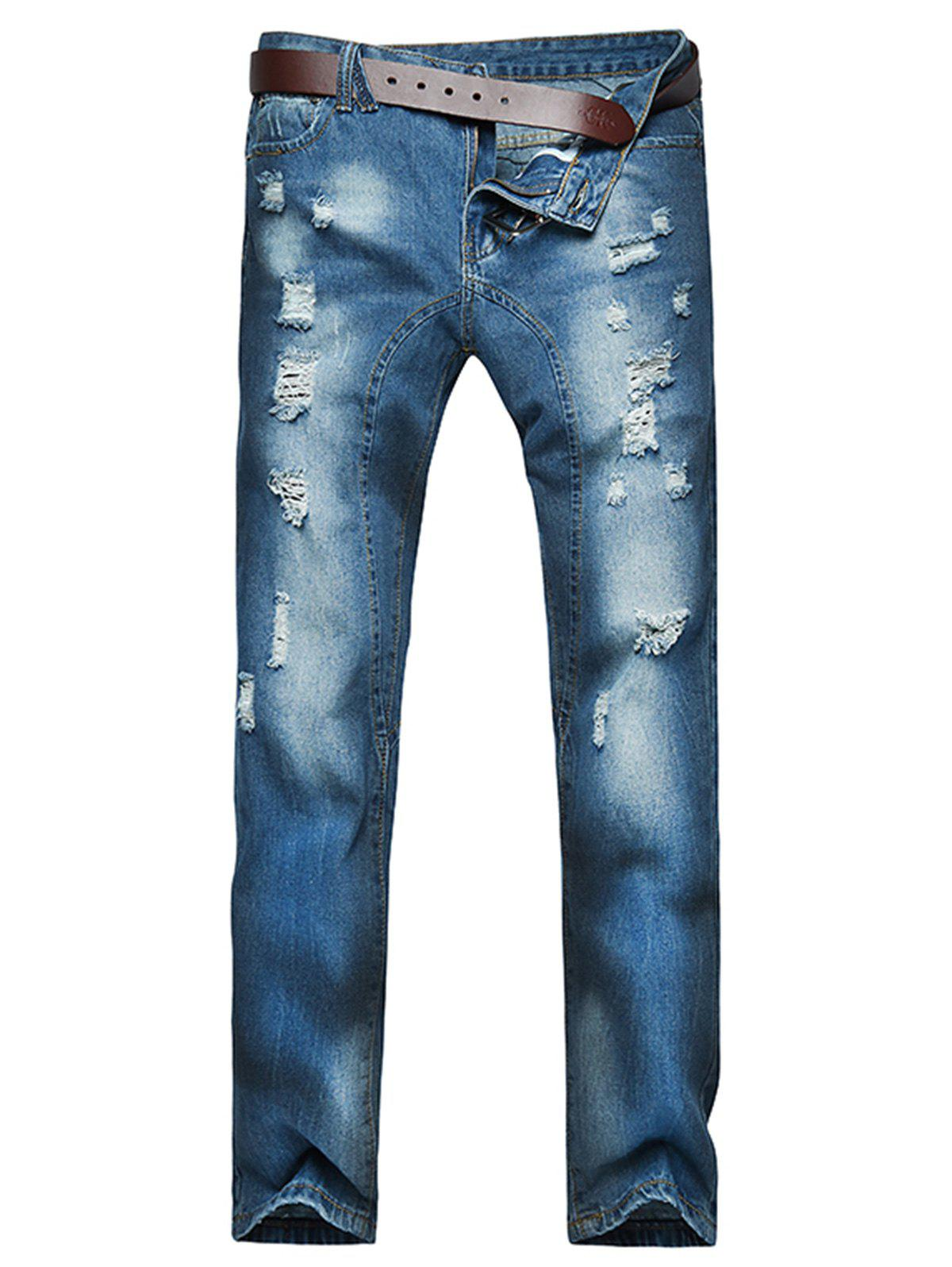 Slightly Faded Destroyed Jeans - BLUE 38